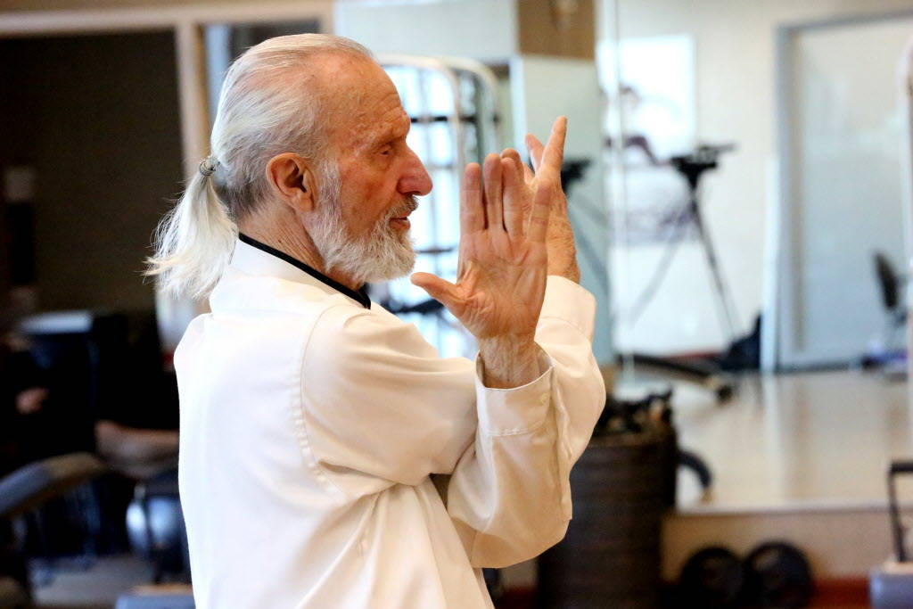 Life Time Fitness Ambassador Laurence Berkley demonstrates movement in Tai Chi at the Life Time Athletic in Summerlin on Wednesday, Dec. 20, 2017. Michael Quine Las Vegas Review-Journal @Vegas88s