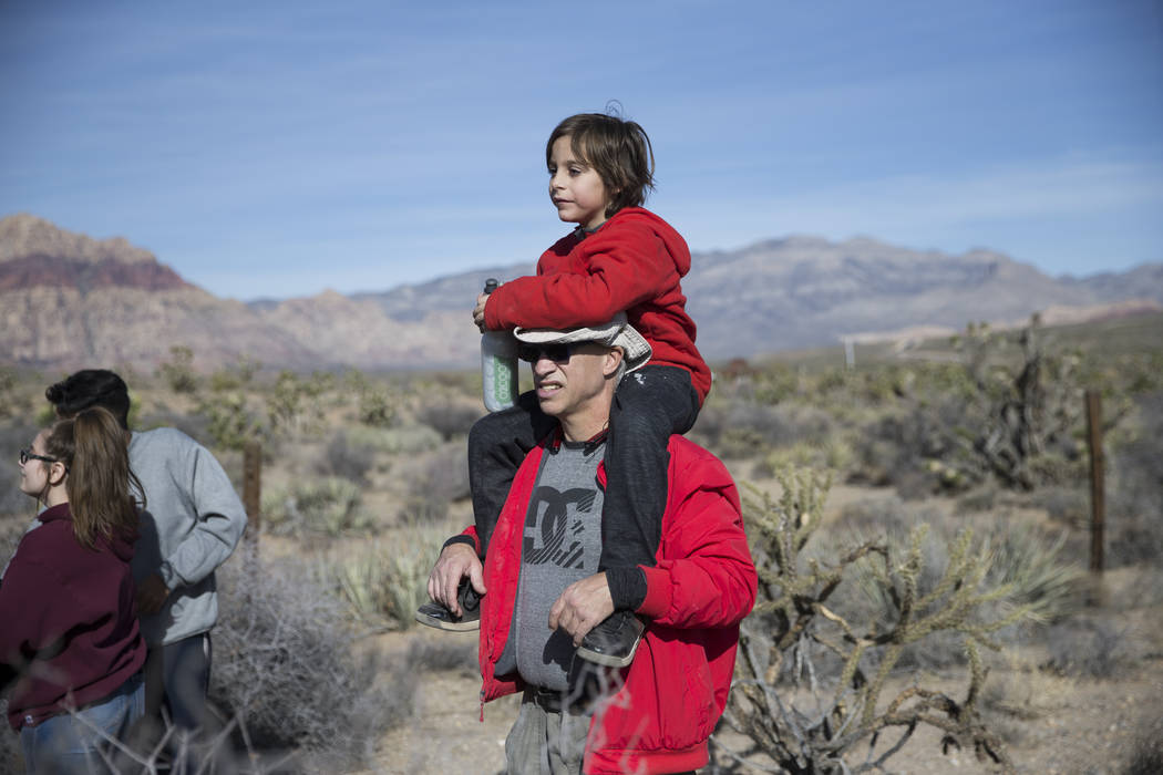 Steve Magas with his grandson Ayden Grinker, 7, during the First Day Hike at Spring Mountain Ranch State Park in Las Vegas, Monday, Jan. 1, 2018. Erik Verduzco Las Vegas Review-Journal @Erik_Verduzco