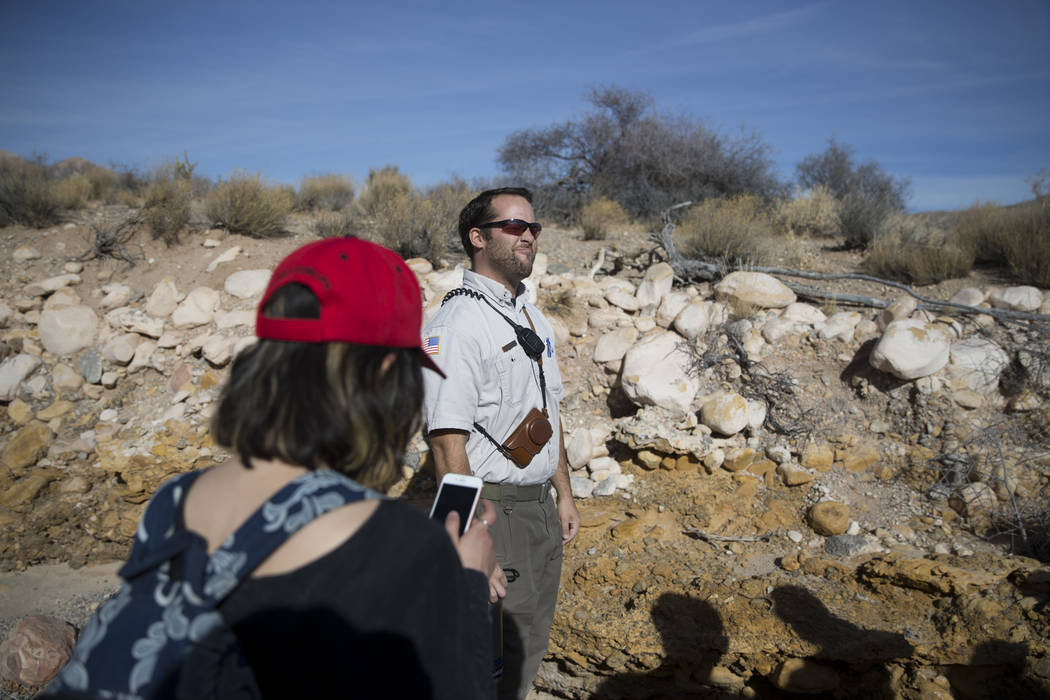 Nevada State Parks Interpreter Ranger Joshua Yelle guides  the First Day Hike at Spring Mountain Ranch State Park in Las Vegas, Monday, Jan. 1, 2018. Erik Verduzco Las Vegas Review-Journal @Erik_V ...