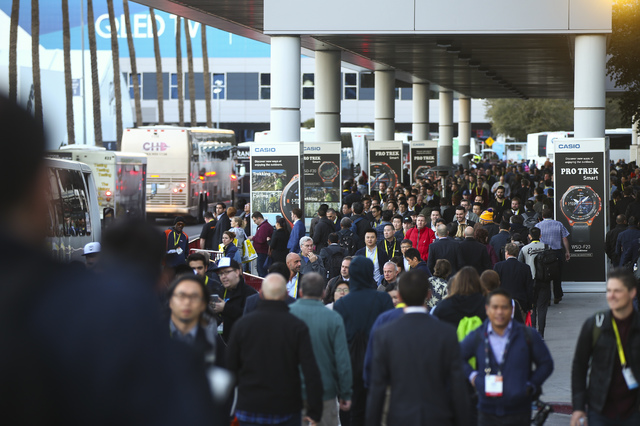 Attendees come and go during CES at the Las Vegas Convention Center in Las Vegas on Friday, Jan. 6, 2017. (Chase Stevens/Las Vegas Review-Journal) @csstevensphoto