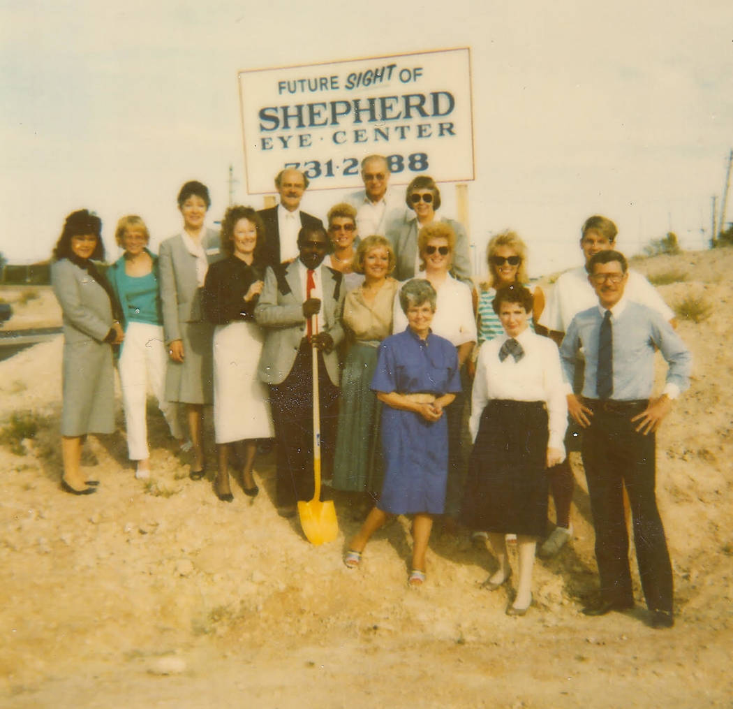 Credit: Shepherd Eye Center Dr. John Shepherd, front right, and his staff celebrate the groundbreaking in 1988 of what would become the flagship Shepherd Eye Center on Pecos-McLeod in Las Vegas.