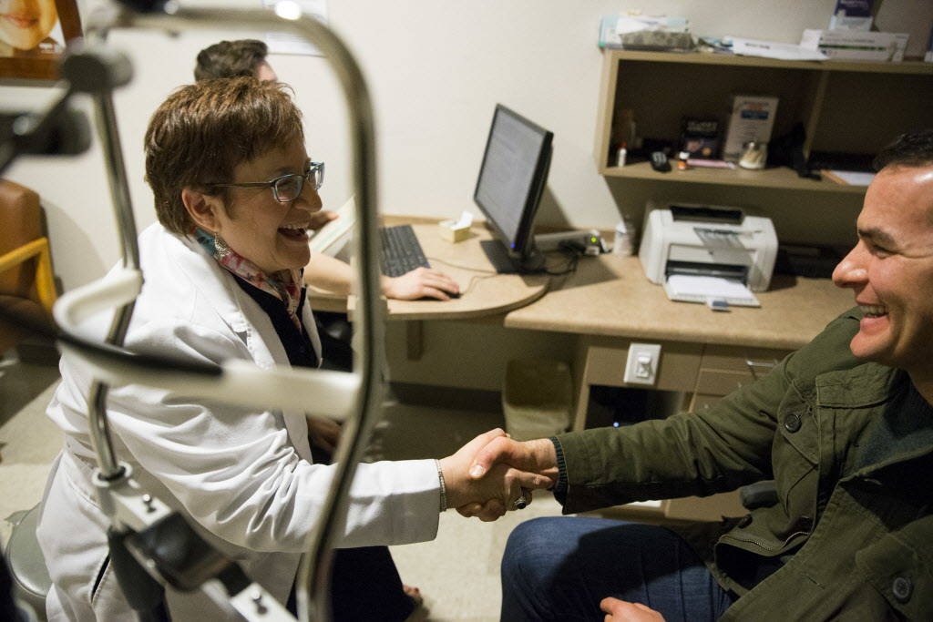Dr. Carolyn Cruvant, left, during an eye exam consultation with patient Christopher McGill at Shepherd Eye Center in Las Vegas, Friday, Dec. 29, 2017. Erik Verduzco/Las Vegas Review-Journal
