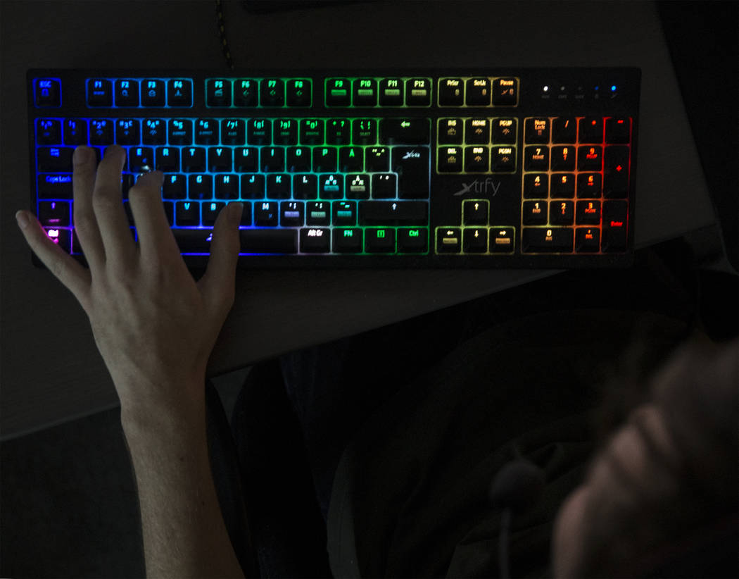Rogue team member Casper Møller practices Counter-Strike: Global Offensive with players from around the world on Tuesday, December 12, 2017, at his home, in Las Vegas. Benjamin Hager Las Vegas Re ...