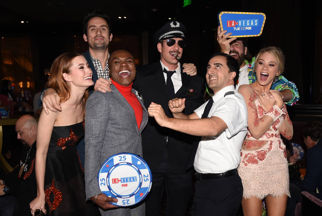 LA TO VEGAS: L-R: Olivia Macklin, Ed Weeks, Nathan Lee Graham, Dylan McDermott, Amir Talai, Peter Stormare, and Kim Matula at the LA TO VEGAS Premiere Party at the Bellagio Resort & Casino on  ...