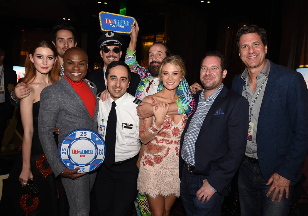 LA TO VEGAS: L-R: Olivia Macklin, Ed Weeks, Nathan Lee Graham, Dylan McDermott, Amir Talai, Peter Stormare, Kim Matula, Exec. Producer Lon Zimmet, and Exec. Producer Steve Levitan at the LA TO VEG ...