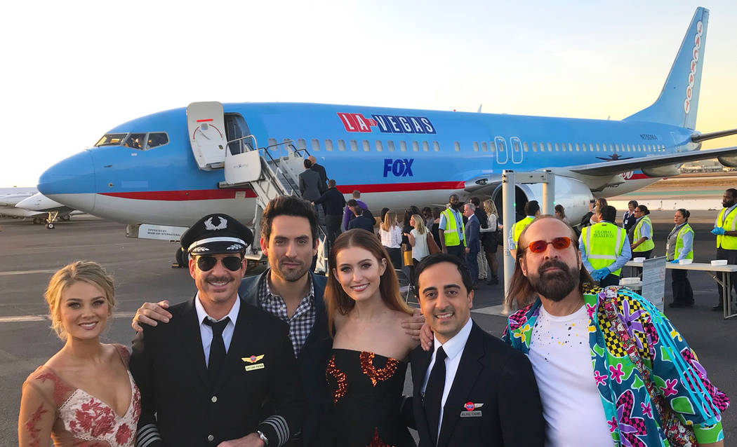 LA TO VEGAS: L-R: Kim Matula, Dylan McDermott, Ed Weeks, Olivia Macklin, Amir Talai, and Peter Stormare boarding the flight to Las Vegas for the LA TO VEGAS Premiere Party on December 7, 2017. (Ph ...