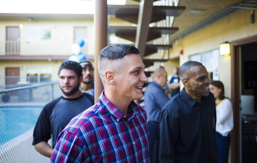 Nye Bemer, originally of Sacramento, Calif., talks about his experiences as a patient during the anniversary celebration for Freedom House and Freedom Behavior Health in Las Vegas in Las Vegas on  ...