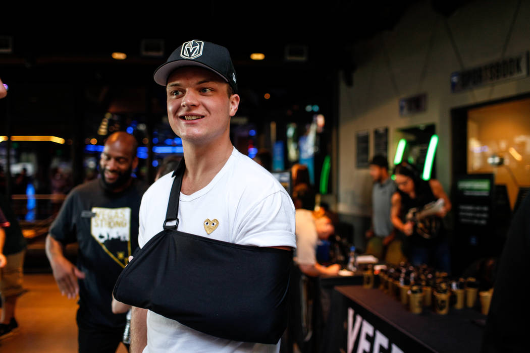 Vegas Golden Knights' Reid Duke attends a watch party for the Vegas Golden Knights season opener against the Dallas Stars at Topgolf in Las Vegas, Friday, Oct. 6, 2017. Duke is sidelined for the f ...