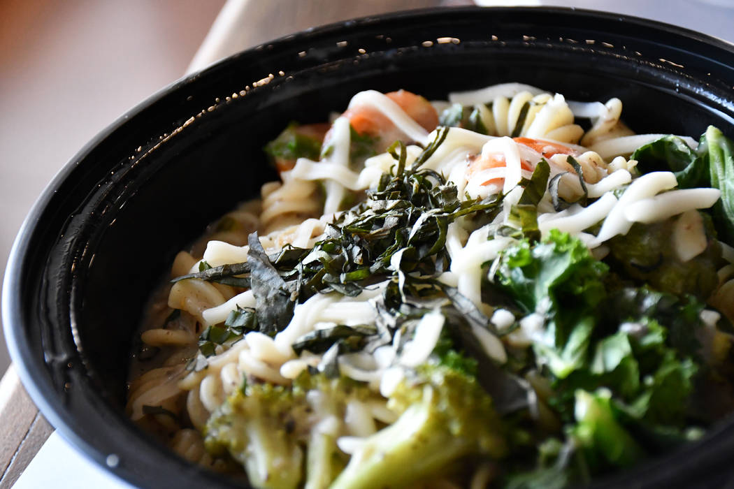 Mushroom power pasta is one of the newest items on the menu at VegeNation in Henderson. The entree includes pasta toasted in cremini mushroom sauce, broccoli, kale and grape tomatoes. (Daria Sokol ...