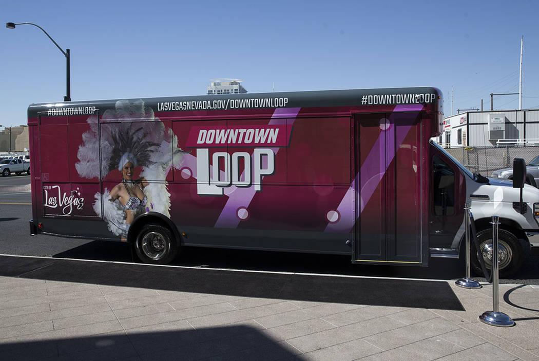 The Downtown Loop shuttle bus at Las Vegas City Hall during a media event celebrating the new free service in Las Vegas, Tuesday, June 27, 2017. Erik Verduzco Las Vegas Review-Journal @erik_verduzco
