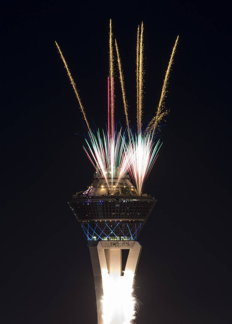 New Year's fireworks are seen along the Las Vegas Strip from the top of the Trump International, ringing in the entrance of 2018. Richard Brian Las Vegas Review-Journal @vegasphotograph
