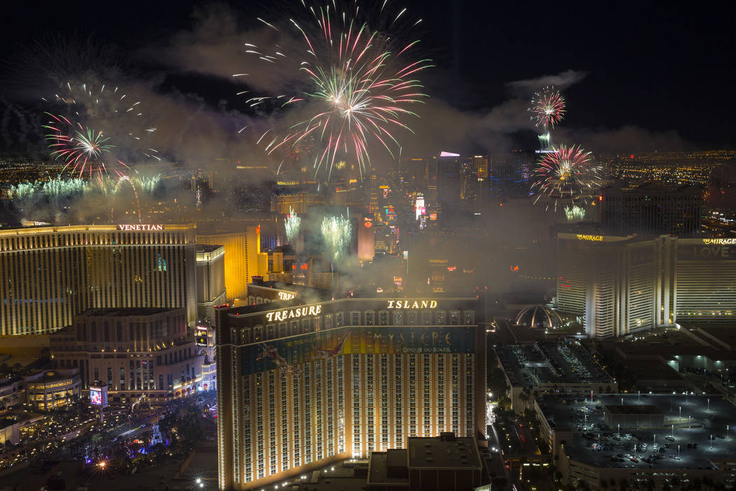 New Year's fireworks are seen along the Strip from the top of the Trump International, ringing in the entrance of 2018. Richard Brian Las Vegas Review-Journal @vegasphotograph