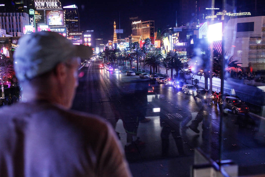 Police cars are parked along the Strip as streets are closed on New Year's Eve in Las Vegas, Sunday, Dec. 31, 2017. Joel Angel Juarez Las Vegas Review-Journal @jajuarezphoto