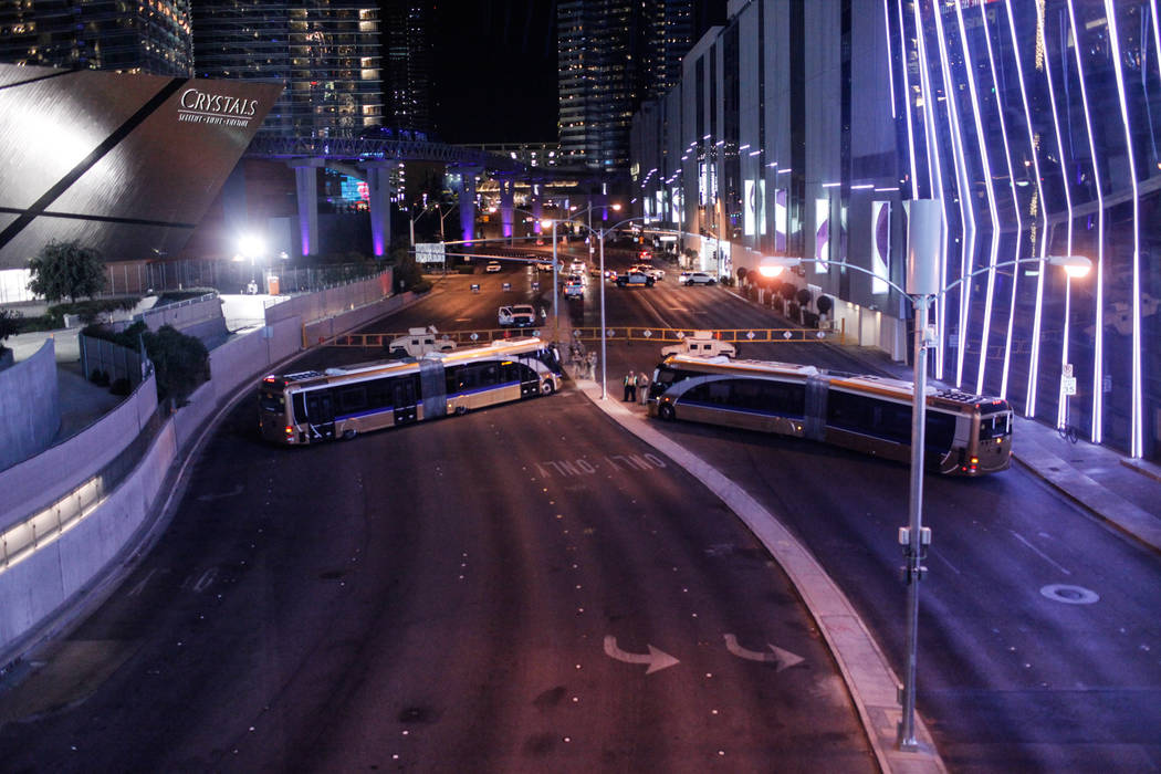 Harmon Avenue is closed off on New Year's Eve along the Strip in Las Vegas, Sunday, Dec. 31, 2017. Joel Angel Juarez Las Vegas Review-Journal @jajuarezphoto