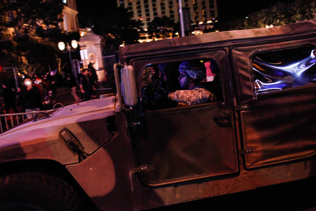 A National Guard Humvee drives along the Strip on New Year's Eve in Las Vegas, Sunday, Dec. 31, 2017. Joel Angel Juarez Las Vegas Review-Journal @jajuarezphoto