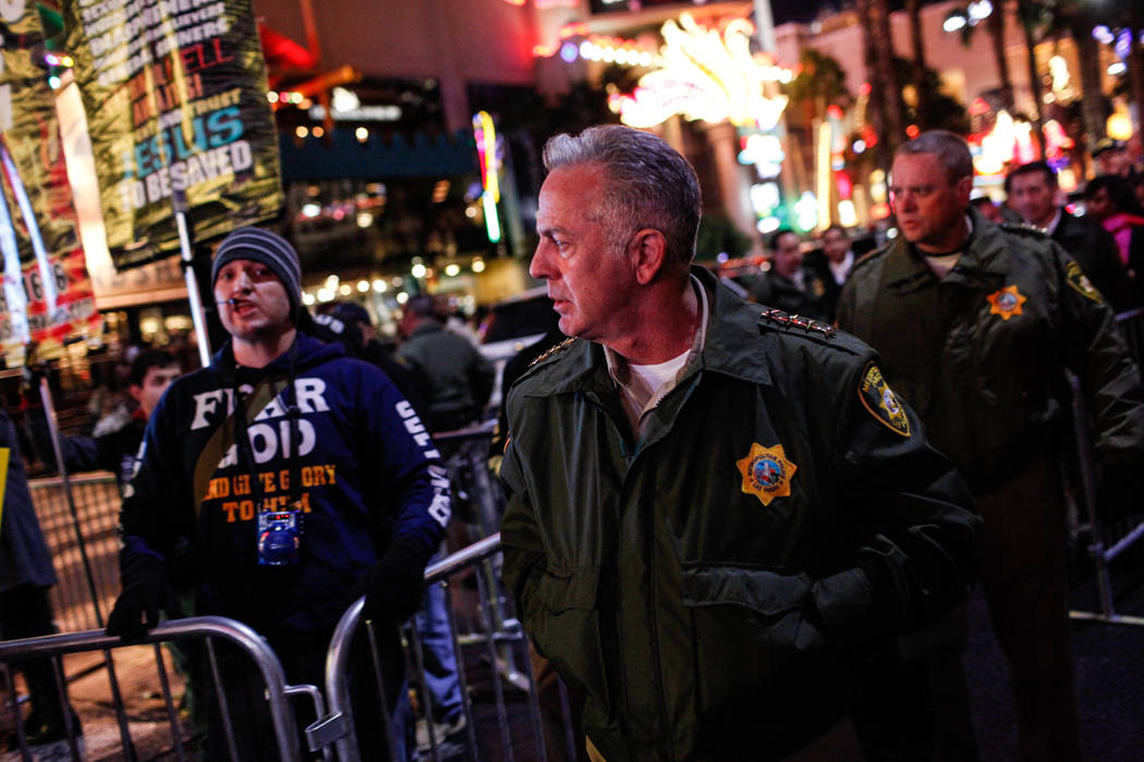 Clark County Sheriff Joe Lombardo walks along the Strip on New Year's Eve in Las Vegas, Sunday, Dec. 31, 2017. Joel Angel Juarez Las Vegas Review-Journal @jajuarezphoto