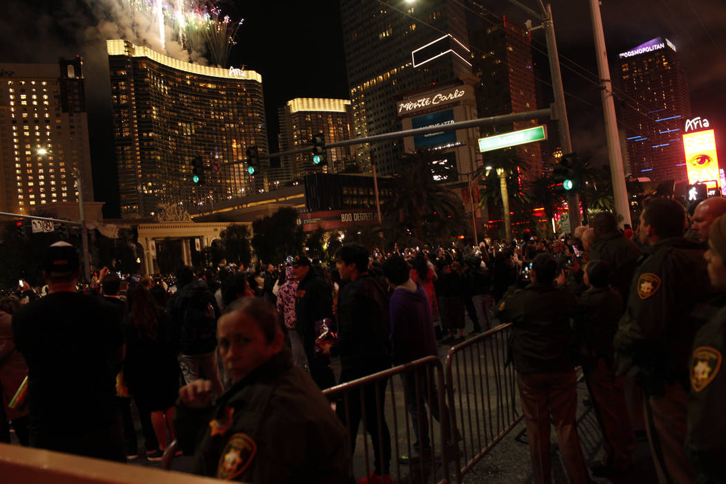 People gather along the Strip during the first minutes of New Year's Day in Las Vegas, Monday, Jan. 1, 2018. Joel Angel Juarez Las Vegas Review-Journal @jajuarezphoto