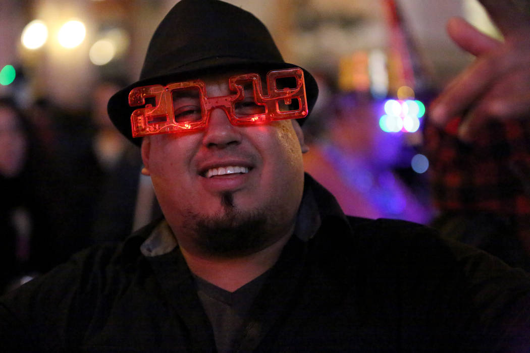 Francisco Ceja from Columbia celebrates on the Las Vegas strip as he awaits the New Year's Eve  fireworks show on Sunday, Dec. 31, 2017. Michael Quine Las Vegas Review-Journal @Vegas88s