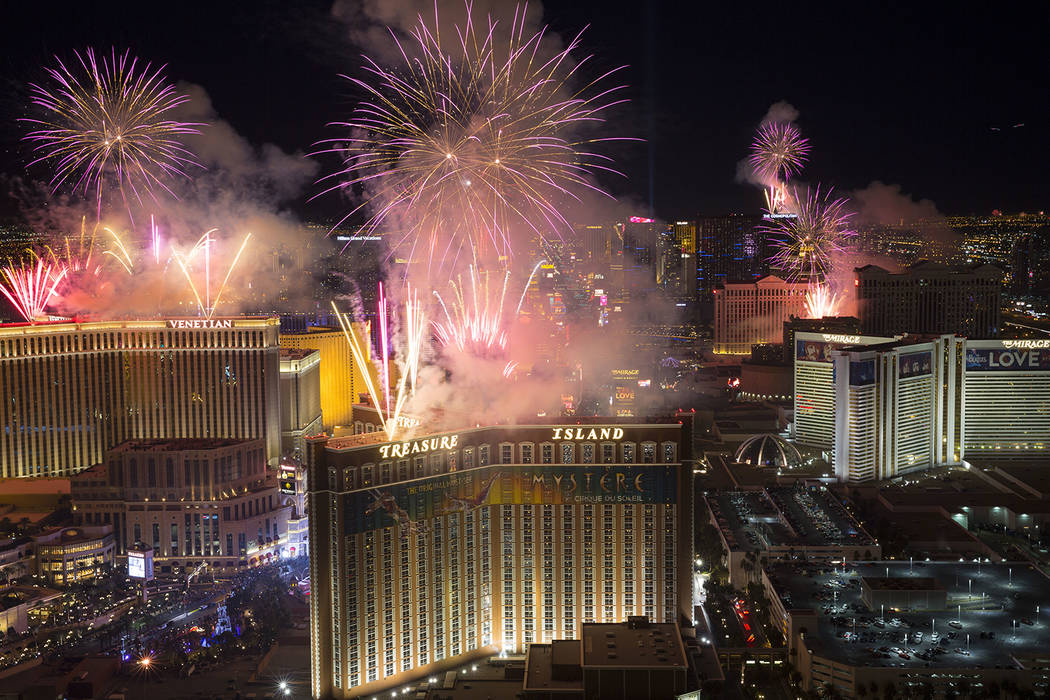 New Year's fireworks are seen along the Strip from the top of the Trump International, Monday, Jan. 1, 2018. (Richard Brian/Las Vegas Review-Journal)