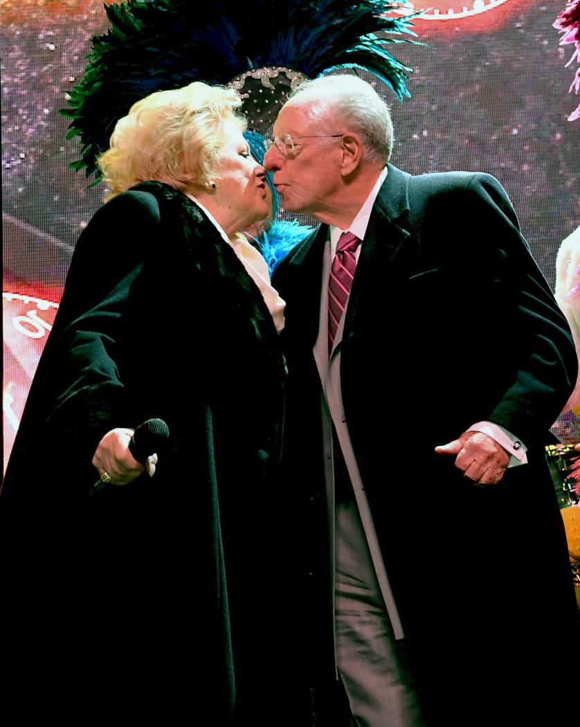Las Vegas Mayor Carolyn G. Goodman shares a New Year's kiss with husband and former Las Vegas Mayor Oscar B. Goodman on Sunday, Dec. 31, 2017. Glenn Pinkerton/Las Vegas News Bureau