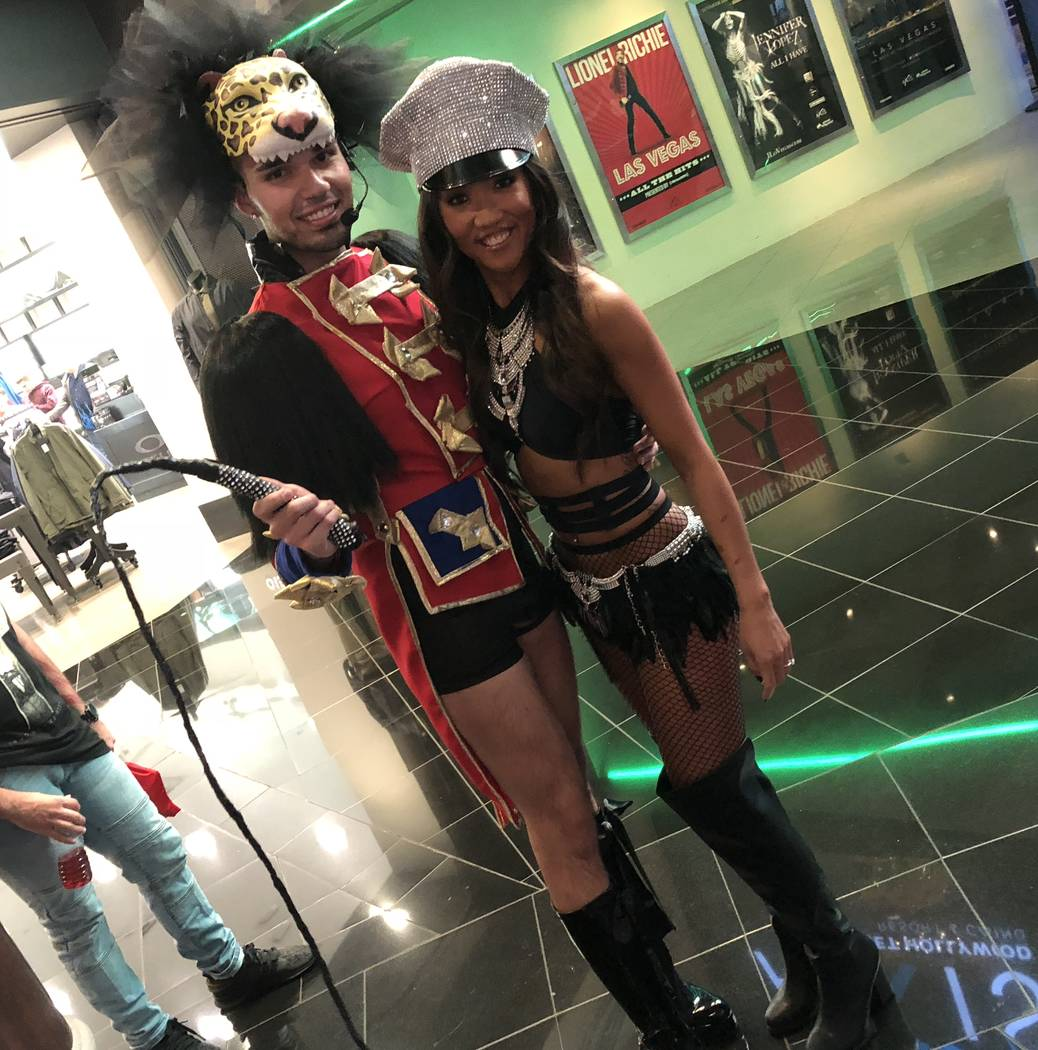 """Britney Spears fans Matthew Martinez and Laell Sanford are in line prior to Spears' final performance of """"Piece of Me"""" at Axis theater at Planet Hollywood on Sunday, Dec. 31, 2017. (John Katsilome ..."""