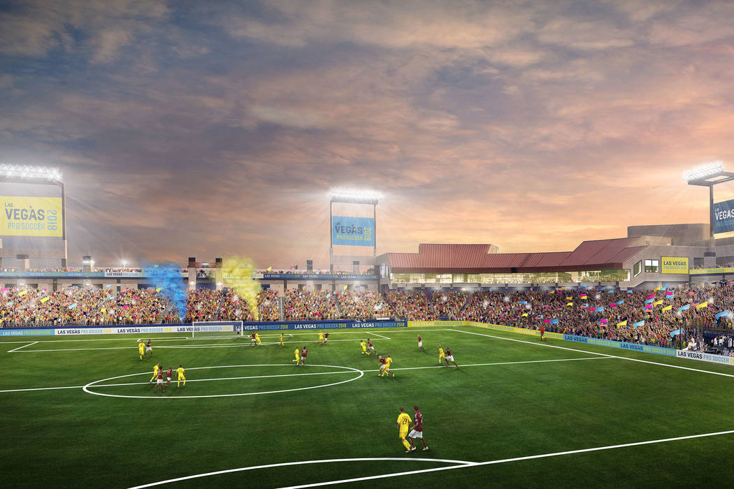 Rendering showing Cashman Field being used as a soccer stadium for the USL team Lights FC. (Kirvin Doak)