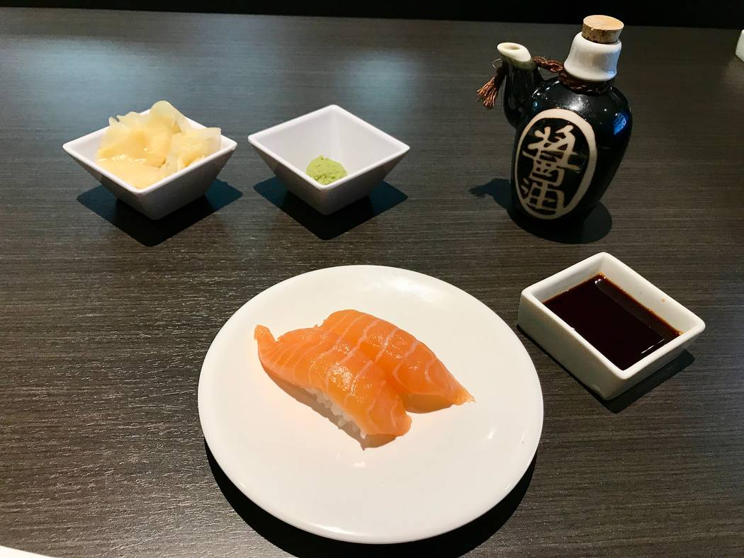 Salmon nigiri from the conveyor belt ($2.50) with pickled ginger, soy sauce and wasabi. (Madelyn Reese/View) @MadelynGReese