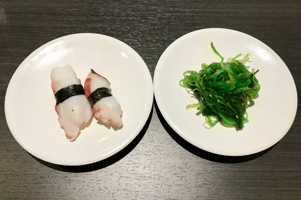 Octopus nigiri and seaweed salad from the conveyor belt ($2.50 each). (Madelyn Reese/View) @MadelynGReese