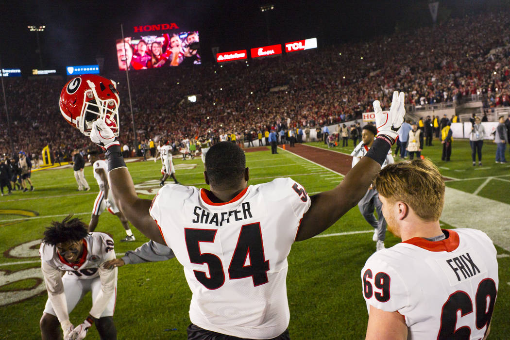 Georgia Bulldogs offensive lineman Justin Shaffer (54) reacts to his team's double overtime defeat against the Oklahoma Sooners in the College Football Playoff semifinal at the Rose Bowl in Pasade ...