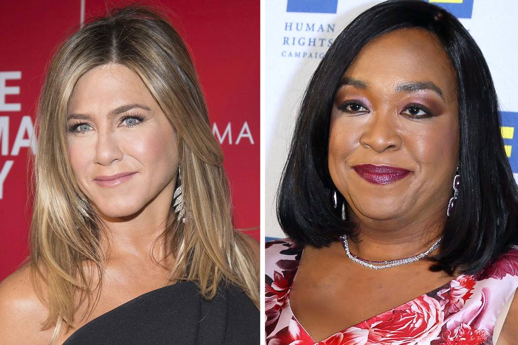 """Actresses Jennifer Aniston at a screening of """"Office Christmas Party"""" in New York and Shonda Rhimes at the 2015 Human Rights Campaign Gala Dinner in Los Angeles. Witherspoon, Rhimes and Aniston ar ..."""