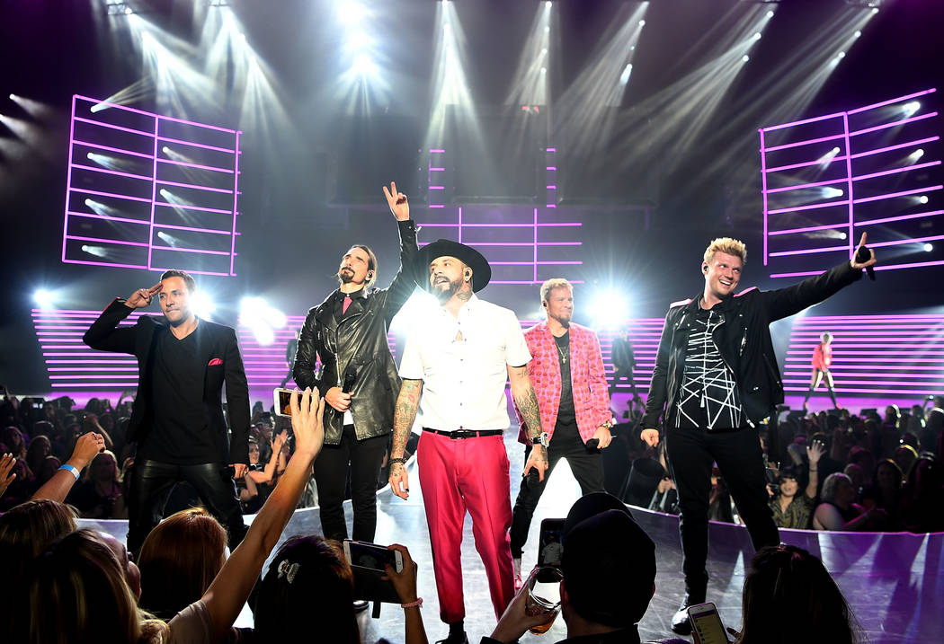 "Howie Dorough, Kevin Richardson, AJ McLean, Brian Littrell and Nick Carter of the Backstreet Boys perform during the launch of the group's residency ""Larger Than Life"" at Axis theater at Planet Ho ..."