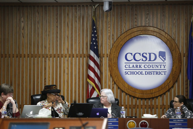 Clark County School Board members during a board meeting at the Edward A. Greer Center on Thursday, Feb. 23, 2017, in Las Vegas. Clark County School Board Trustee Kevin L. Child has insisted that  ...