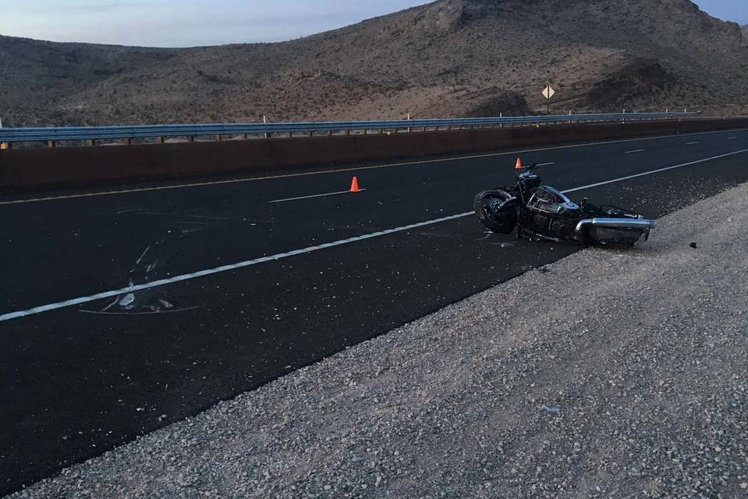 A motorcyclist died Monday after crashing west of Las Vegas. (Nevada Highway Patrol)