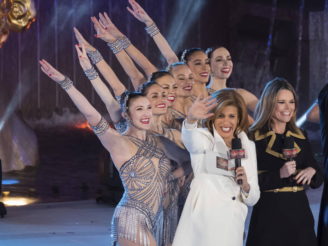 Savannah Guthrie, right, and Hoda Kotb appear with the Rockettes during the 85th annual Rockefeller Center Christmas Tree lighting ceremony on Wednesday, Nov. 29, 2017, in New York. (Charles Sykes ...