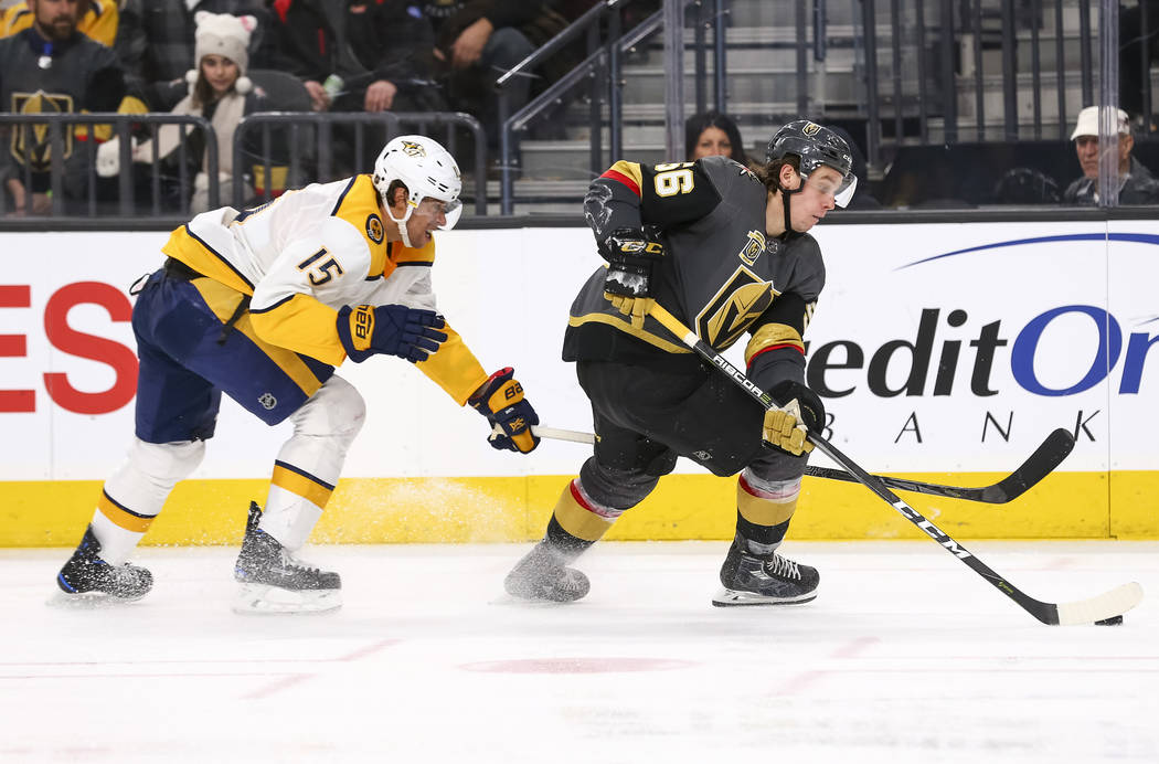 Vegas Golden Knights left wing Erik Haula (56) is chased by Nashville Predators right wing Craig Smith (15) during the third period of an NHL hockey game between the Vegas Golden Knights and the N ...