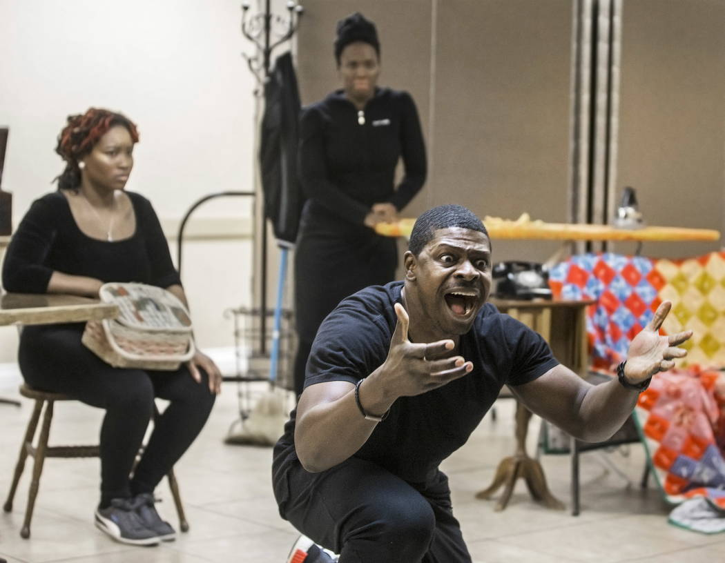 "John Joseph, right/front, works through a scene during rehearsal for ""A Raisin in the Sun"" on Wednesday, January 3, 2018, at First African Methodist Episcopal Church, in Las Vega ..."