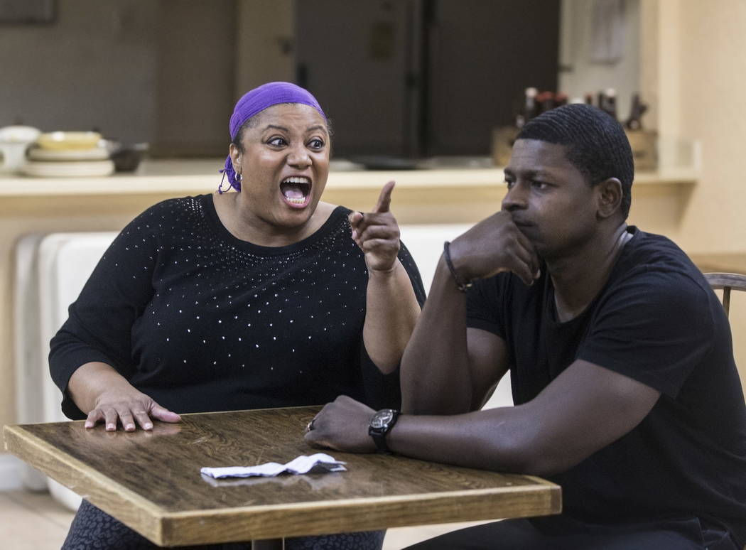 "John Joseph, right, and Toni Ellis work through a scene during rehearsal for ""A Raisin in the Sun"" on Wednesday, January 3, 2018, at First African Methodist Episcopal Church, in  ..."
