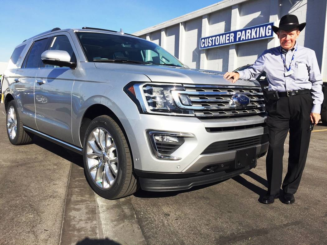 Friendly Ford Friendly Ford sales consultant Larry Davis is ready to deliver a 2018 Ford Expedition to a customer.