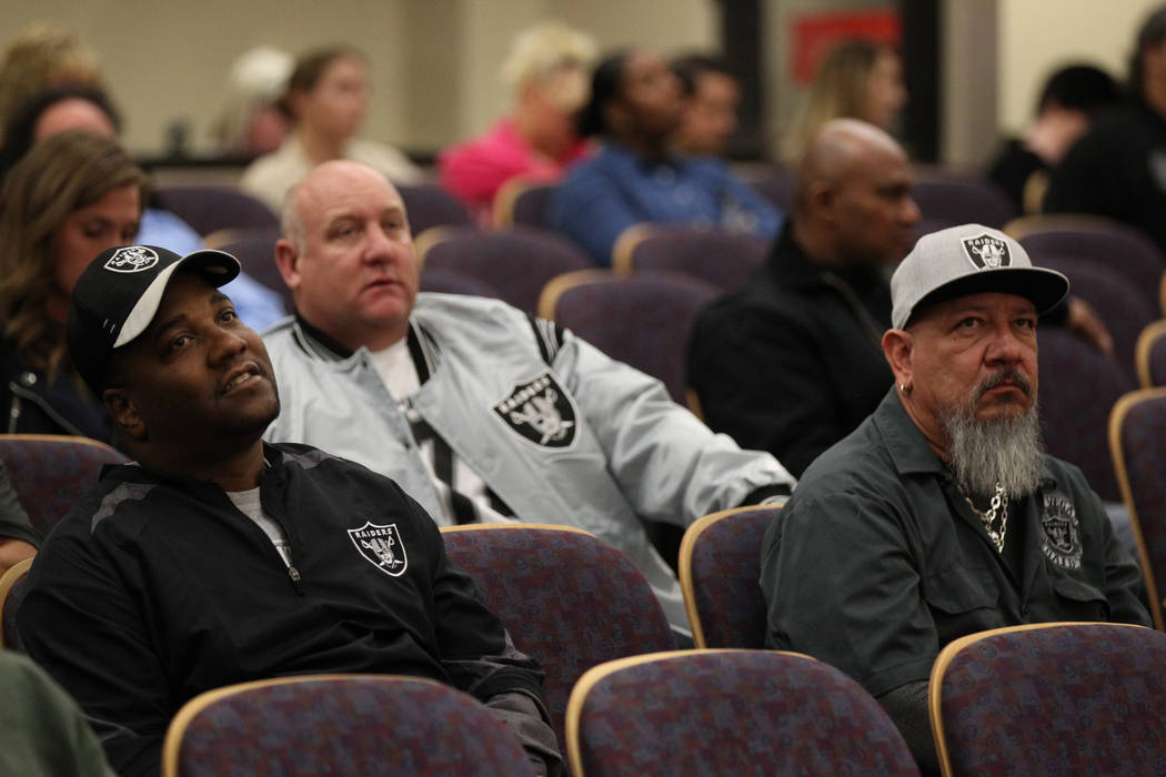 Raiders fans and members of Laborers Local 872, from left, Ken McLin, Dennis Cronin and Henry Baker listen during a Henderson City Council meeting Tuesday, Jan. 2, 2018. K.M. Cannon Las Vegas Revi ...