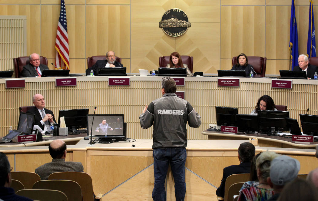 Tommy White, of the Labors Local 872 and member of the Las Vegas Stadium Authority Board, center, speaks to the Henderson City Council Tuesday, Jan. 2, 2018. K.M. Cannon Las Vegas Review-Journal @ ...