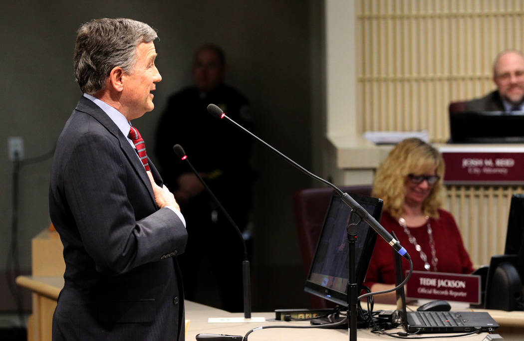 Las Vegas Stadium Company Chief Operating Officer Don Webb speaks to the Henderson City Council Tuesday, Jan. 2, 2018. K.M. Cannon Las Vegas Review-Journal @KMCannonPhoto