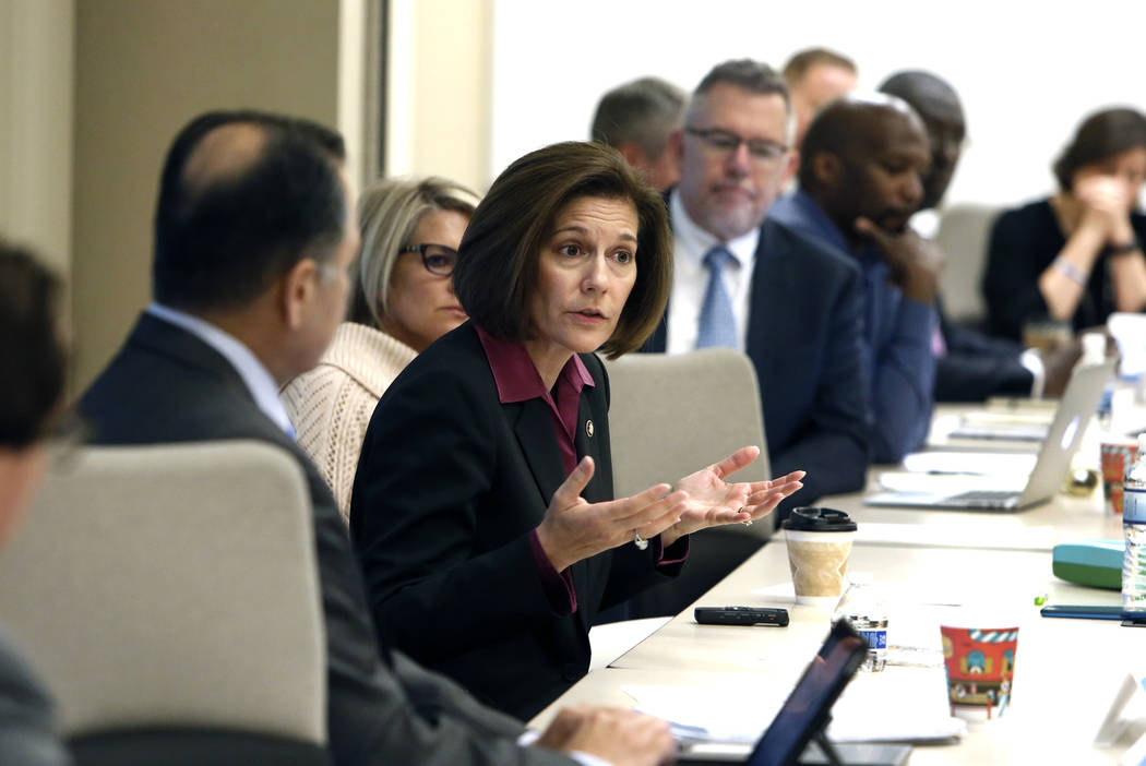 Sen. Catherine Cortez Masto, D-Nev., speaks during a roundtable discussion at the Southern Nevada Traffic Management Center Tuesday, Nov. 21, 2017, in Las Vegas. Bizuayehu Tesfaye Las Vegas Review ...