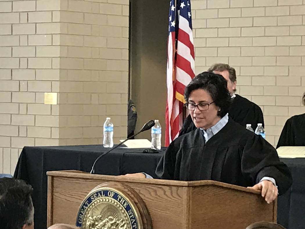 Nevada Supreme Court Justice Lidia Stiglich addresses family, friends and colleagues at her investiture ceremony Thursday, March 9, 2017, in Carson City. (Sandra Chereb/Las Vegas Review-Journal)