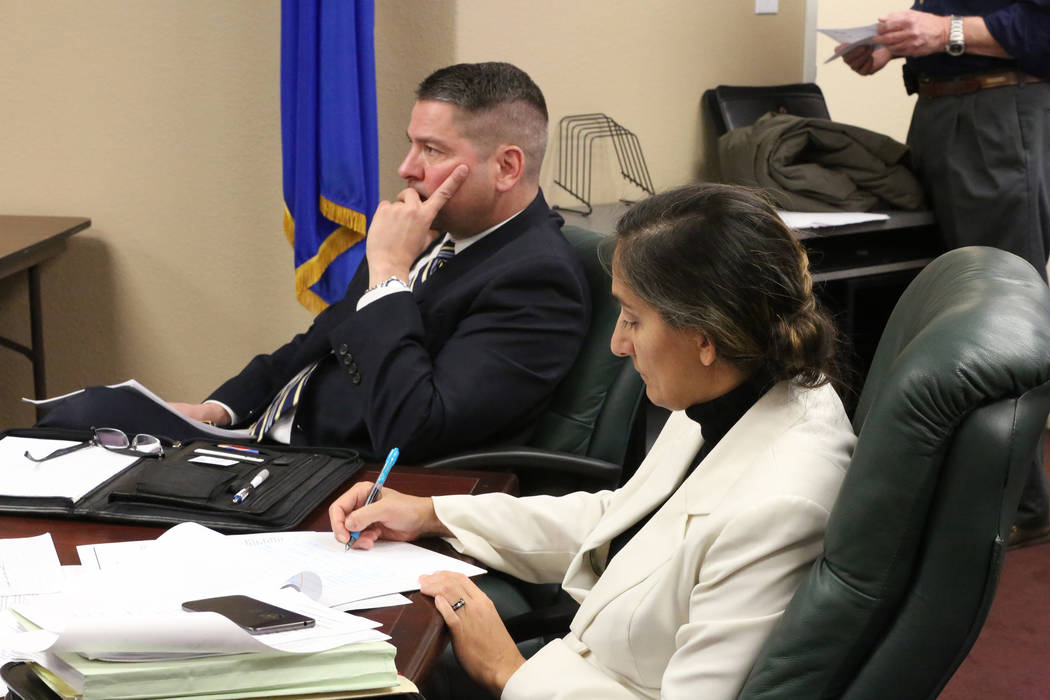 Nevada State Board of Medical Examiners Executive Director Edward O. Cousineau, JD, left, and Deputy Executive Director Jasmine K. Mehta, JD, listen to concerns from medical professionals on Wedne ...