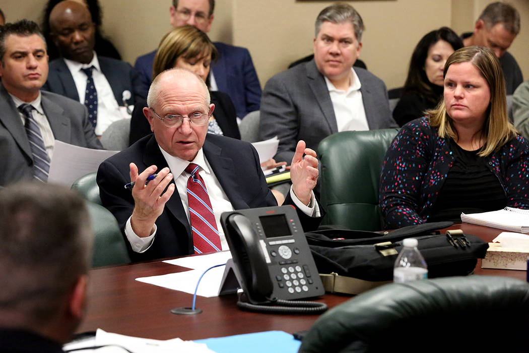 State Senator Joe Hardy addresses the Nevada State Board of Medical Examiners and a packed conference room of medical professionals about proposed regulations for Nevada Assembly Bill No. 474 whic ...
