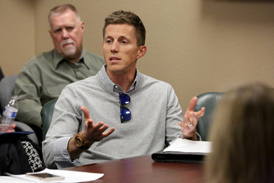 Cole Sondrup, MD, expresses concerns to the Nevada State Board of Medical Examiners and a packed conference room of medical professionals about proposed regulations for Nevada Assembly Bill No. 47 ...