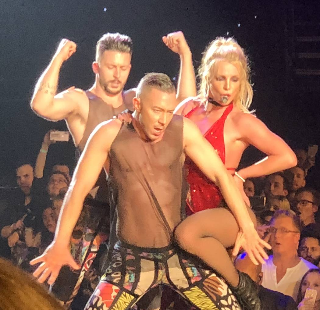 "Britney Spears and a pair of backing dancers are shown in her final performance of ""Piece of Me"" at Axis theater at Planet Hollywood on Sunday, Dec. 31, 2017. (John Katsilometes/Las Vegas Review-J ..."
