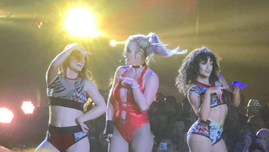 """Britney Spears and a pair of backing dancers are shown in her final performance of """"Piece of Me"""" at Axis theater at Planet Hollywood on Sunday, Dec. 31, 2017. (John Katsilometes/Las Vegas Review-J ..."""