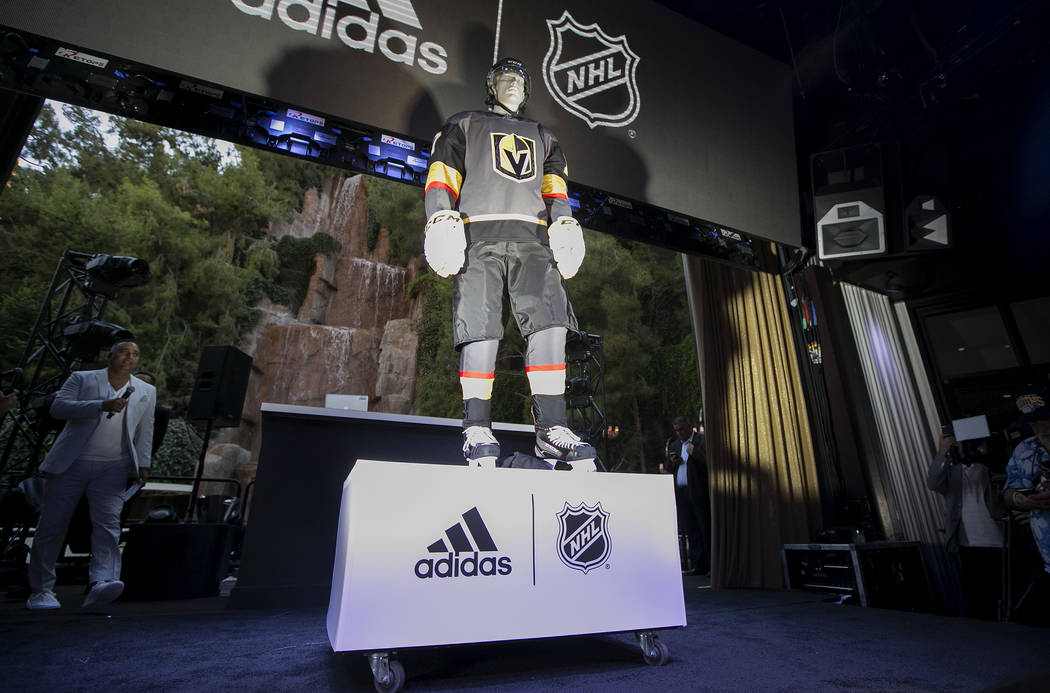 The Golden Knights uniforms are unveiled for the first time at Intrigue Nightclub at Wynn hotel-casino on Tuesday, June 20, 2017 in Las Vegas. Bridget Bennett Las Vegas Review-Journal @bridgetkbennett