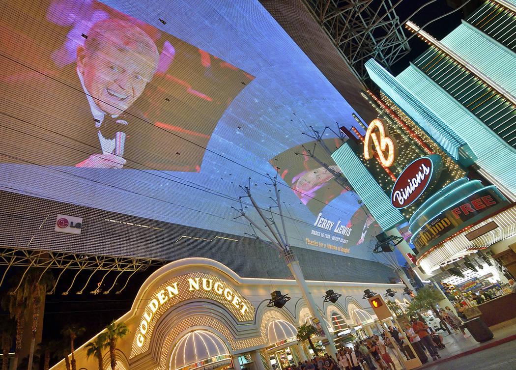 A tribute to Jerry Lewis is shown on the canopy of the Fremont Street Experience in downtown Las Vegas on Monday, Aug. 21 2017. (Photo/Las Vegas News Bureau/Bill Hughes)
